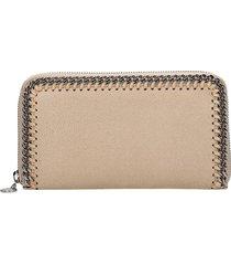 stella mccartney falabella walle wallet in beige polyester