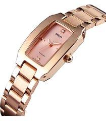 orologio al quarzo impermeabile in acciaio inossidabile con strass da donna stile casual