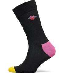 embroidery space cat crew underwear socks regular socks svart happy socks