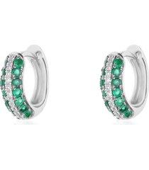 orecchini a cerchio charlotte oro bianco smeraldo e diamanti per donna