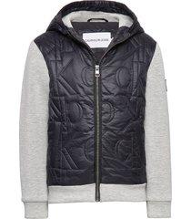 mix media monogram quilt jacket hoodie trui zwart calvin klein