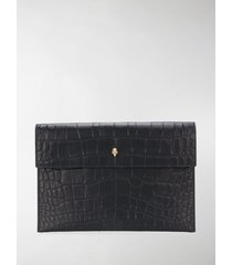 alexander mcqueen croc effect envelope clutch bag