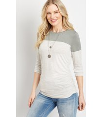 maurices womens 24/7 olive striped ruched side baseball tee green