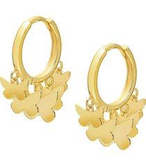 gabi rielle women's 14k gold vermeil butterfly charm huggie earrings