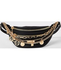 river island womens black layered chain and charm bumbag