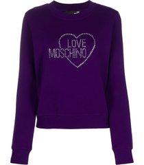 love moschino studded logo rib-trimmed sweatshirt - purple
