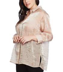 vince camuto plus size shimmering organza blouse