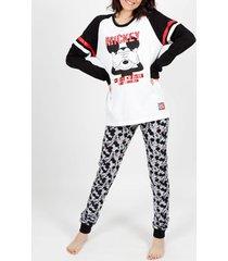 pyjama's / nachthemden admas binnenpak pyjamabroek mickey white