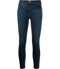 j brand 835 capri mid-rise cropped jeans - blue