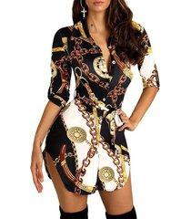 vestido clásico con mangas 3/4 de cuello redondo y estampado de bufanda delantera con botones