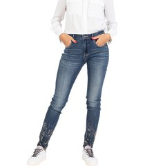 medium dark naomi jeans with rhinestones and studs
