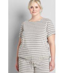 lane bryant women's livi short-sleeve tie-hem sweatshirt 34/36 medium heather grey