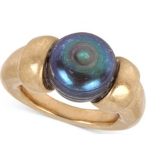 robert lee morris soho gold-tone freshwater pearl (12mm) sculptural ring