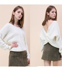 v neck twisted back sweater knitted women jumpers pullovers 4 colors