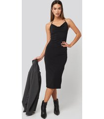 trendyol back slit midi dress - black