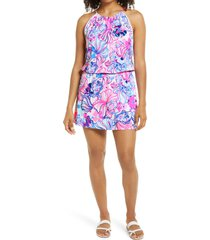 women's lilly pulitzer gianni make a splash skort romper, size medium - pink