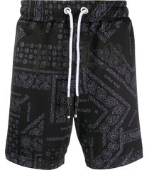 palm angels bandana-print drawstring shorts - black