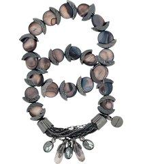 camila klein mother of pearl bracelets set - black