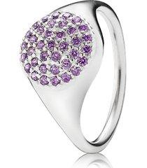 anel de prata pavê lilás