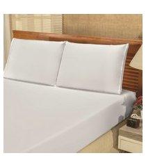 jogo de cama lençol queen bianca 03 peças - branco,