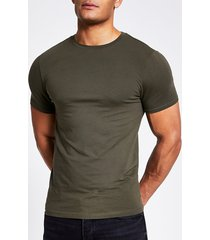 river island mens khaki short sleeve muscle fit t-shirt