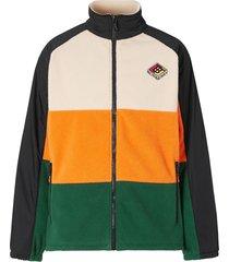 burberry colour-block striped fleece jacket - orange