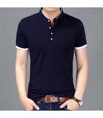 camiseta de manga corta slim para hombre -azul