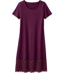 jersey jurk met kant, pruimkleur 40