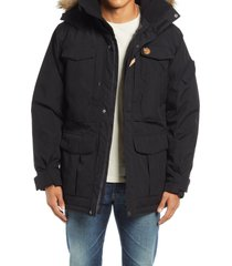 men's fjallraven yupik parka with faux fur trim, size x-large - black