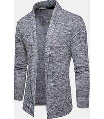 cardigan in maglia a collo a scialle moda casual a tinta unita da uomo
