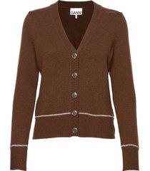 wool knit gebreide trui cardigan bruin ganni