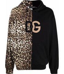dolce & gabbana leopard-print spliced dg logo hoodie