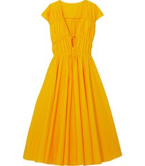 ceres tie-detailed gathered cotton-poplin midi dress