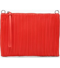 pleated pu zip top clutch bag, red