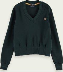 scotch & soda shaped waist v-neck sweatshirt