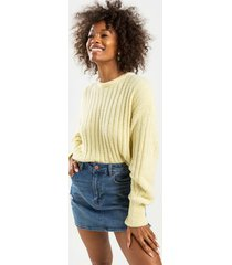 mallory long sleeve solid rib pullover - yellow