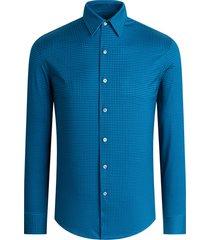 men's bugatchi ooohcotton regular fit tech knit button-up shirt, size medium - blue