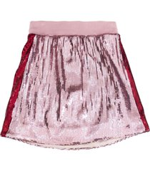 alberta ferretti pink cotton panelled sequinned skirt
