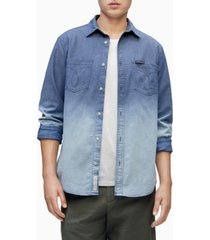 calvin klein men's chambray button-down long sleeve shirt