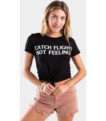 catch flights not feelings tee - black