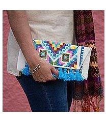 cotton blend clutch, 'dramatic geometric' (mexico)
