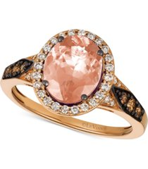le vian chocolatier peach morganite (1-3/4 ct. t.w.) & diamond (3/8 ct. t.w.) ring in 14k rose gold