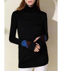 attractive turtleneck long sleeve sheathy pullover sweatshirt for women