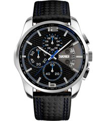 reloj analogo hombre cronografo 3bar skmei 9106 negro azul