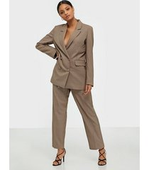 selected femme slfemilo lea mw cropped pant check byxor