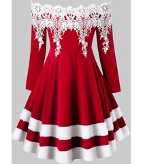 plus size off the shoulder faux fur velvet christmas dress