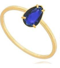 anel solitário gota zircônia safira banhado 18k lys lazuli feminino - feminino