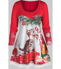 plus size christmas cat gift print lace panel tunic tee