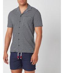 orlebar brown men's travis ocean stripe capri collar shirt - navy/almond - xl