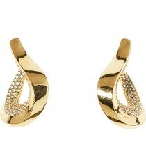 women's vince camuto pave twisted teardrop hoop earrings